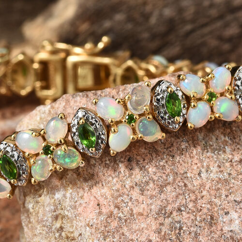Ethiopian Welo Opal (Ovl), Russian Diopside and Diamond Bracelet (Size 7) in 14K Gold Overlay Sterling Silver 8.250 Ct. Silver wt 21.77 Gms.
