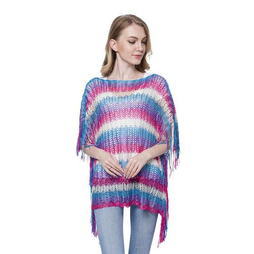 Purple, Blue, White and Pink Colour Stripe Pattern Poncho (Size 90x55 Cm) and White Colour Vest (Size 60x55 Cm)
