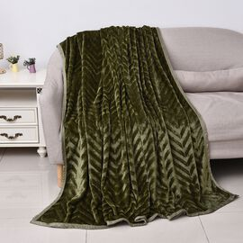 Zig-zag Pattern Luxurious Microfibre Blanket with Piping (Size 200x230 Cm) - Teal