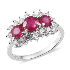 African Ruby and Natural Cambodian Zircon Ring in Platinum Overlay Sterling Silver 2.50 Ct.
