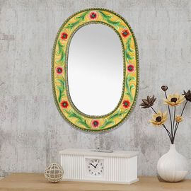 Home Decor - Nakkashi Handcarved and Handpainted Floral Vine Wall Mirror (Size 50.8x60 Cm)