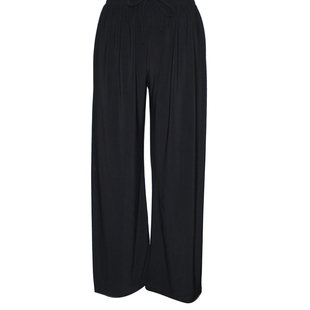 Supersoft Emma Wide Leg Trousers with Elasticated Waist in Black - Leg: 25 inches