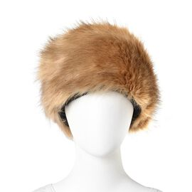 Khaki Colour Faux Fur Hat (Size 55x12 Cm)
