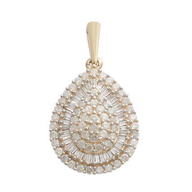 9K Yellow Gold SGL Certified Diamond (Rnd and Bgt) (I3/G-H) Drop Pendant 1.000 Ct.