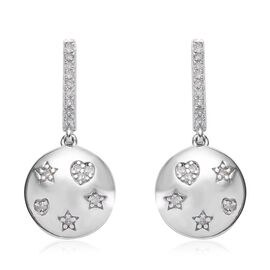 GP - Diamond (Rnd), Blue Sapphire Earrings (with Push Back) in Platinum Overlay Sterling Silver 0.33