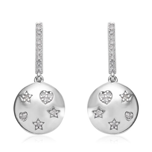 GP 0.33 Ct Diamond and Blue Sapphire Drop Earrings in Platinum Plated Sterling Silver