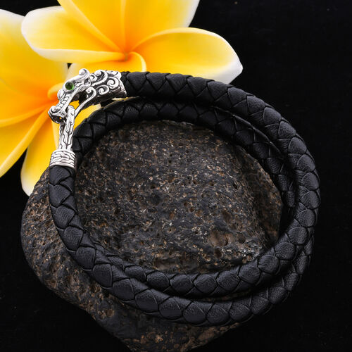 Royal Bali Collection - 100% Genuine Leather Single Dragon Head Bracelet (Size 7.5) in Sterling Silver, Silver wt 10.00 Gms