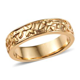 14K Gold Overlay Sterling Silver Engraved Band Ring, Silver wt 3.65 Gms