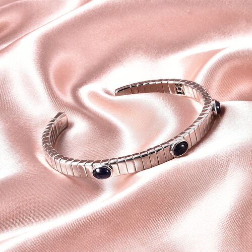 GP Masoala Sapphire and Blue Sapphire Bangle (Size 7.5) in Rhodium Overlay Sterling Silver 4.12 Ct, Silver wt. 32.88 Gms