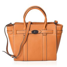 100% Genuine Leather Litchi Pattern Tote Bag with Detachable Shoulder Strap (Size 38x28.5x12.5x26 Cm