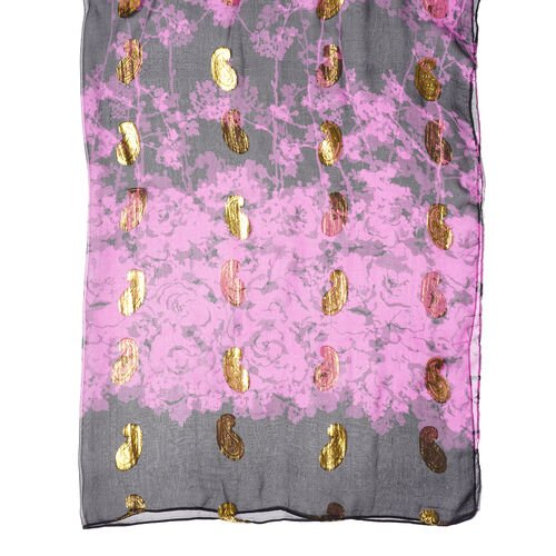 LA MAREY 100% Mulberry Silk Black nd Purple Scarf with Golden Embroidery(180x110cm)
