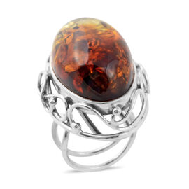 Extremely Rare Shape  Bi-Colour Baltic Amber Adjustable Ring in Sterling Silver