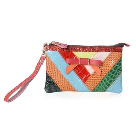 100% Genuine Leather Multi Colour Croc Embossed Clutch Wallet (Size 19x11 Cm)