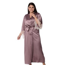 Super Auction- 100% Mulberry Silk Long Robe with Kimono Style Sleeves with Lace in Gift Box in Purple Colour