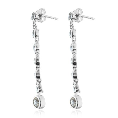 J Francis Crystal from Swarovski - White Crystal (Rnd) Dangle Earrings (with Push Back) in Sterling Silver, Silver wt 4.31 Gms.