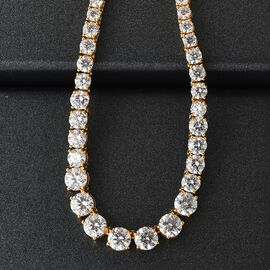 J Francis - 14K Gold Overlay Sterling Silver Necklace  (Size 18) Made with SWAROVSKI ZIRCONIA 33.70 Ct, Silver wt 15.80 Gms