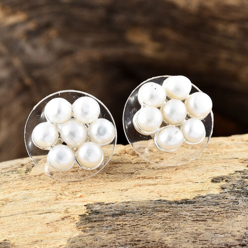 Fresh Water Pearl (Rnd) Floral Earrings (with Push Back) in Sterling Silver