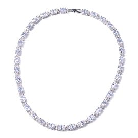 Simulated White Diamond Tennis Necklace in Silver Tone 16 Inch
