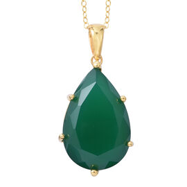 Rare Size Verde Onyx (Pear 30X20 mm) Pendant with Chain (Size 30) in 14K Gold Overlay Sterling Silver 48.500 Ct. Silver wt 8.40 Gms.