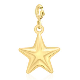 9K Yellow Gold Star Spring Ring Charm