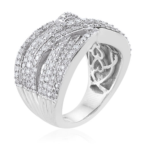 Diamond (Rnd) Criss Cross Ring in Platinum Overlay Sterling Silver 1.010 Ct, Silver wt 6.00 Gms, Number of Diamonds 189.