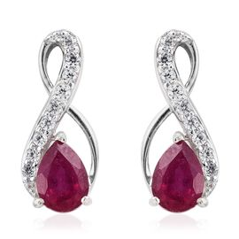 African Ruby (1.50 Ct),Cambodian Zircon Platinum Overlay Sterling Silver Earring  2.250  Ct.