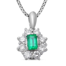 White Diamond  900 White Platinum,  Emerald Pendant with Chain 0.40ct, Platinum Wt. 7.7 Gms  1.000