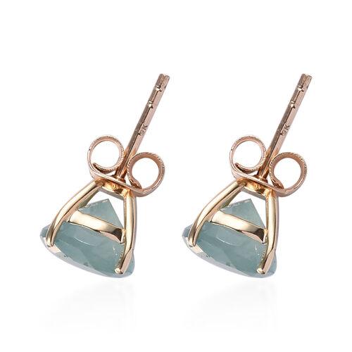 9K Yellow Gold AA Grandidierite (Rnd) Stud Earrings (with Push Back) 4.00 Ct.