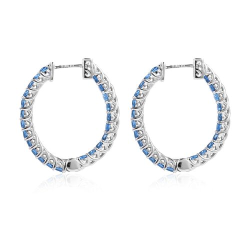 Lustro Stella Simulated Blue Sapphire (Rnd) Inside-Out Earrings (with Clasp) in Rhodium Overlay Sterling Silver
