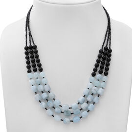 GP - Espirito Santo Aquamarine, Black Onyx, Boi Ploi Black Spinel and Blue Sapphire Multi Strand Beads Necklace (Size 20) in Sterling Silver 300.33 Ct.