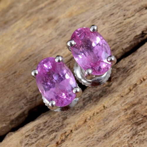 ILIANA 18 White Gold AAA Pink Sapphire (Ovl) Stud Earrings (with Screw Back) 1.100 Ct