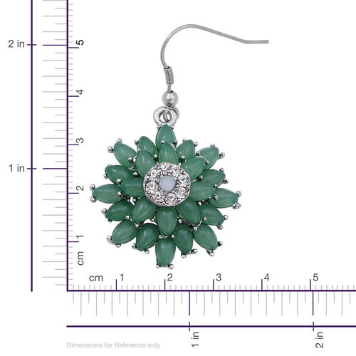 White Austrian Crystal and Simulated Green Stone Floral Necklace (Size 18 with 2 Inch Extender) and Hook Earrings in Silver Tone