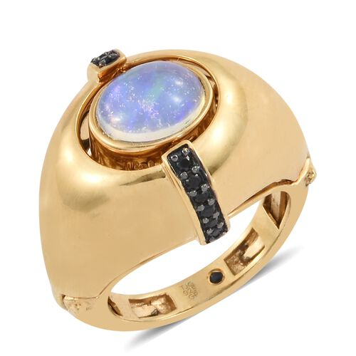 GP Ethiopian Welo Opal (Ovl 1.50 Ct), Boi Ploi Black Spinel and Kanchanaburi Blue Sapphire Ring in 14K Gold Overlay Sterling Silver 3.000 Ct. Silver wt 10.91 Gms.