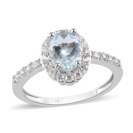 Santa Teresa Aquamarine and Natural Cambodian Zircon Ring in Platinum Overlay Sterling Silver 1.45 C