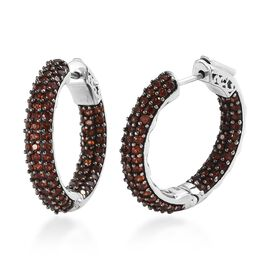 3.25 Carat Mozambique Garnet Hoop Earrings in Platinum and Black plated Silver