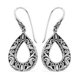 Bali Legacy Collection Sterling Silver Teardrop Hook Earrings, Silver wt 11.97 Gms.