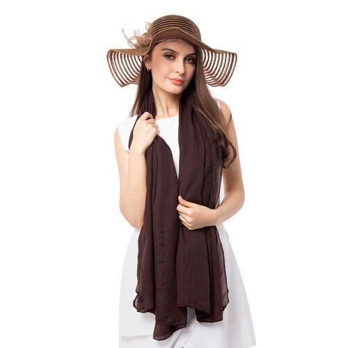 Dark Brown Solid Colour Scarf (Size 180x70 Cm) with Translucent Strip Pattern Hat including Bowknot String (Size 39.37x10.16 cm)