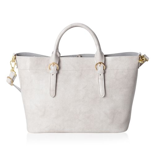 100% Genuine Leather Light Grey Colour Tote Bag with Removable Shoulder Strap (Size 38x32x24x13 Cm)