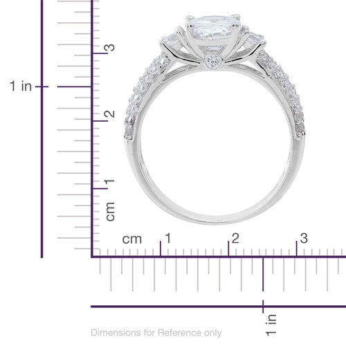 ELANZA Simulated White Diamond (Ovl) Ring in Rhodium Plated Sterling Silver, Silver wt 3.60 Gms.