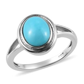 Arizona Sleeping Beauty Turquoise (Ovl 9x7mm) Solitaire Ring in Platinum Overlay Sterling Silver 1.2