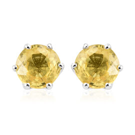9K White Gold AA Yellow Sapphire (Rnd) Stud Earrings (with Push Back) 1.250 Ct.