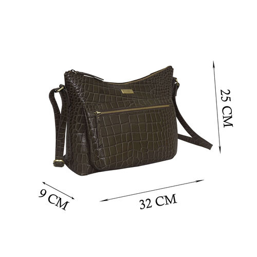 Assots London OLGA Croc Embossed Genuine Leather Crossbody Bag with Zipper Closure and Adjustable Strap (Size 30x9.5x26 Cm) - Olive Green