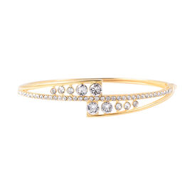 J Francis Swarovski Crystal Bangle in Yellow Gold Plated Sterling Silver 13.90 Grams 7.5 Inch