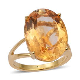 15.33 Ct Citrine Solitaire Ring in Sterling Silver 4.5 Grams
