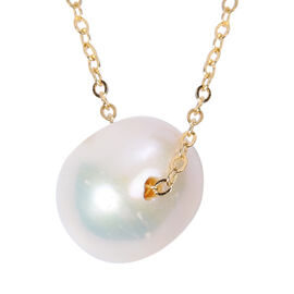 Freshwater White Pearl Pendant with Chain (Size 18) in Yellow Gold Overlay Sterling Silver