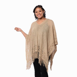 Spring Collection - Solid Brown Colour Hollow Out Poncho with Tassel (Free Size; Length 60Cm)