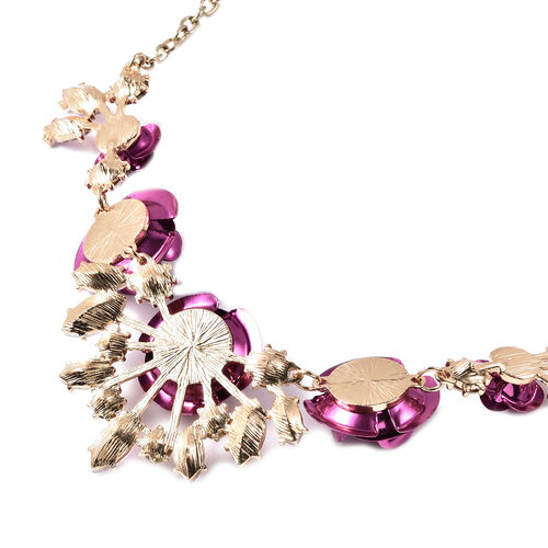 Simulated Pink Sapphire and White Austrian Crystal Valentine Theme Rose Necklace (Size 22 with Extender)