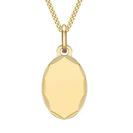 9ct yellow gold carved edge oval polished pendant-