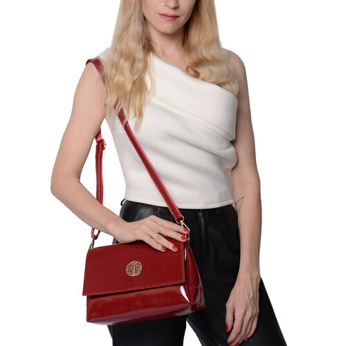100% Genuine Leather Crossbody Bag with Adjustable Shoulder Starp (25x9.5x17cm) - Burgundy