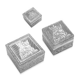 Set of 3 - Handcrafted Cat Embossed Nested Box with Blue Velvet Lining (Size L-12x12x6.3/ M-8.8x8.8x